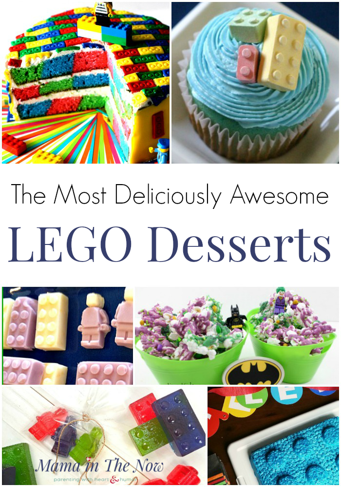 LEGO desserts for LEGO birthday parties. Celebrate in great LEGO style with these fun brick inspired desserts. LEGO cakes, LEGO treats, LEGO desserts, LEGO party food. #LEGOMom #LEGO #LEGOParty #LEGODesserts #LEGOCakes #LEGOCandy #MamaintheNow