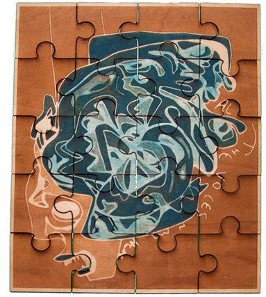 neo expressionist blue puzzle
