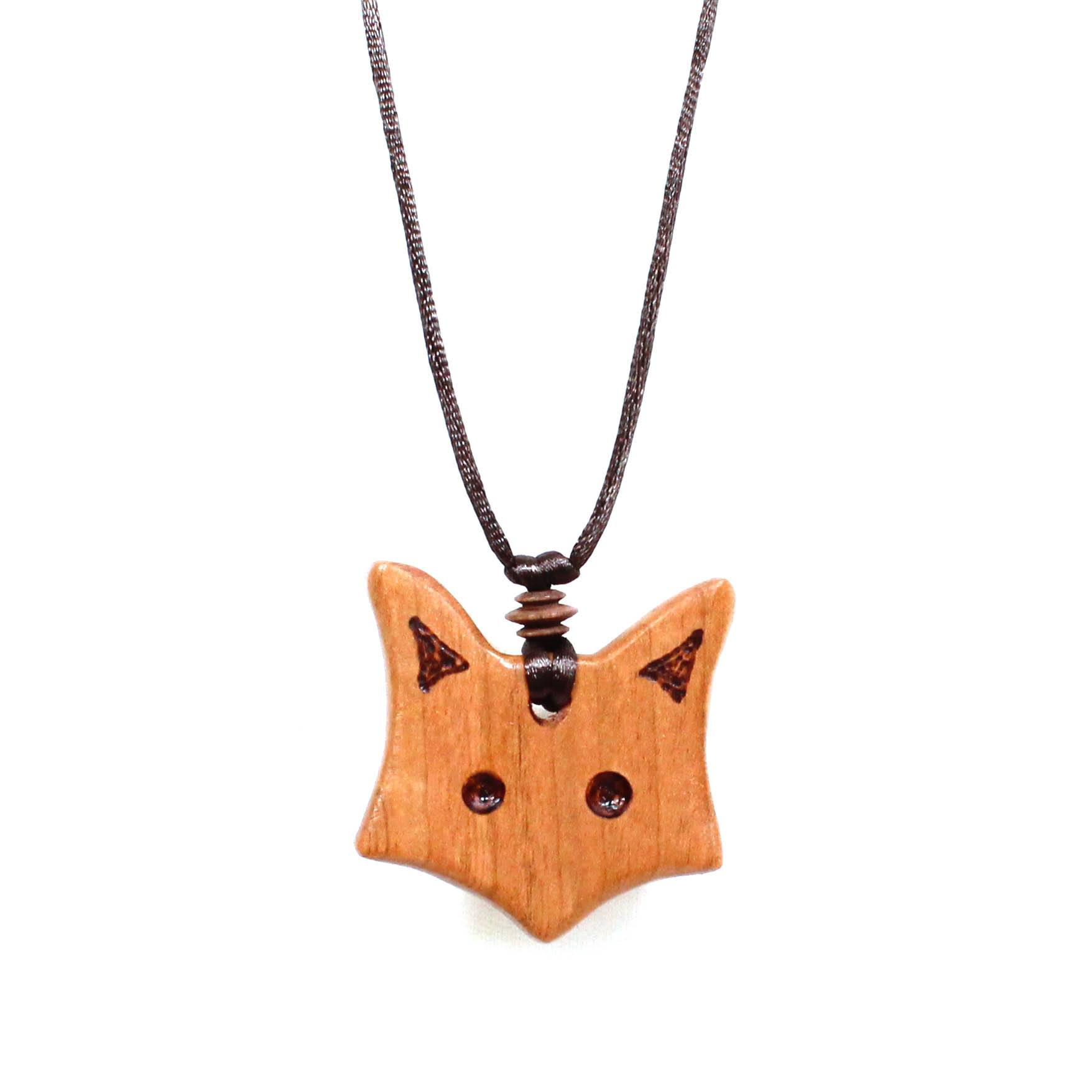 Natural wood fox teething fiddle necklace pendant fox pendant applewood wooden teething necklace 001 natural wood fox teething necklace pendant aloadofball Choice Image