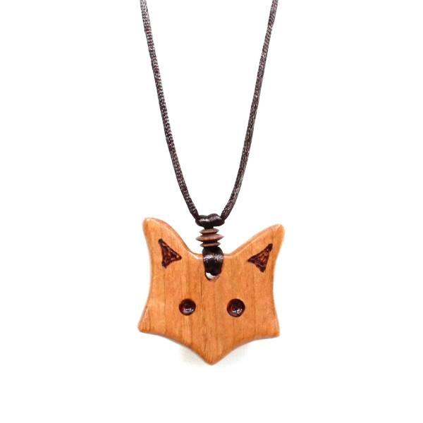 Fox pendant applewood wooden teething necklace 001 - Natural wood Fox Teething necklace pendant