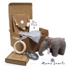 Wooly Mammoth Toy Mum and Baby Hmaper Mama Jewels 2017 logo - Mum and baby gift hamper - Calming grey and Woolly Mammoth toy