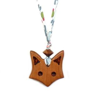 fox on liberty teal 002 2 - Natural wood Fox  teething nursing fiddle necklace pendant on Liberty teal fabric cord