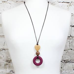 Milo heart Malbec teething necklace ring 1 - MILO Silicone Teething ring necklace in Malbec red