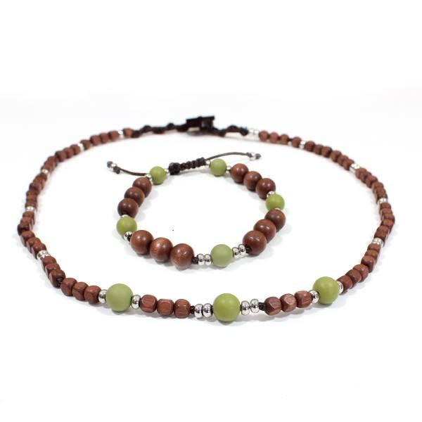 Papa Jewels mens necklace bracelet set Willis olive 1 - Willis Olive green Mens silicone baby proof necklace & bracelet set