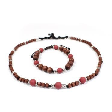 Papa Jewels mens necklace bracelet set Willis wine 2 - Willis Marsala red Mens silicone baby proof necklace & bracelet set