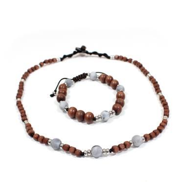 Papa Jewels mens necklacebracelet set Willis grey 2 - Willis Marble grey Mens silicone baby proof necklace & bracelet set