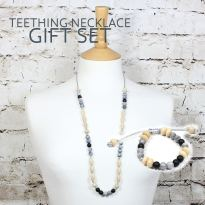 grey pebbles silicone wood teething necklace GIFT SET - Elements grey Silicone wood teething nursing necklace & bracelet gift set