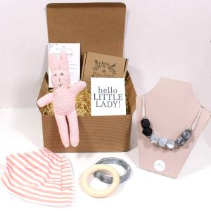 PINK BUNNY HAMPER - Mum and baby gift hamper - baby girl Pink bunny