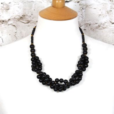 Tani jet black wooden baby proof necklace 002 - Tani Jet black wooden  teething nursing fiddle necklace