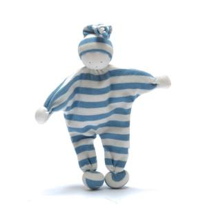 pale blue buddy - Organic cotton Baby comforter comfort toy Baby blue stripes