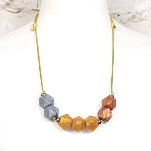 GEO METALLICS TEETHING NECKLACE 2 - Metallics gold silver copper GEO BEADS silicone teething necklace