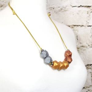GEO METALLICS TEETHING NECKLACE 3 - Metallics gold silver copper GEO BEADS silicone teething necklace