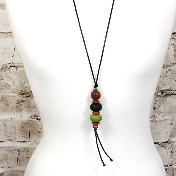 Teething necklace Baroque olive 4 - Baroque pendant silicone teething necklace Olive green