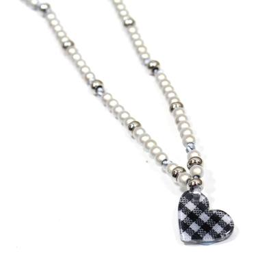 vichy check heart necklace 1 - Silver Liberty print HEART teething nursing fiddle necklace 'Vichy check'