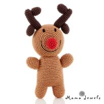 Rudolph rattle LOGO - Rudolph Reindeer fairtrade knitted toy baby rattle