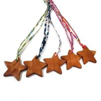 STARS ON LIBERTY ALL FIVE - Applewood Liberty fabric Star Wooden Teething necklace