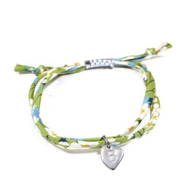 liberty stamped bracelet Green 1 - Liberty print bracelet personalised initial - mustard