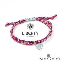 liberty stamped bracelet Purple 3 - liberty print bracelet personalised initial - Navy blue