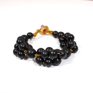 tani black bracelet 2 - Tani black wooden teething nursing fiddle bracelet