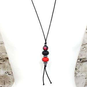 FLORA TEETHING PENDANT red BLACK 2 - Flora teething necklace pendant silicone Red black