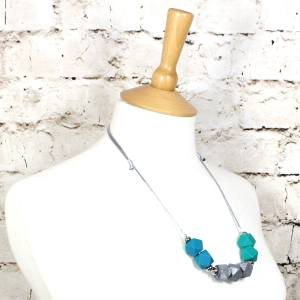 Turquoise silver 2018 3 - Turquoise silver GEO BEADS silicone teething necklace