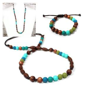 peacock gift set - Teething nursing necklace bracelet gift set-Elements Peacock Turquoise green
