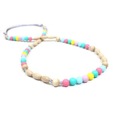Elements PASTEL RAINBOW LIGHT WOOD 3 - Elements Pastel Rainbow Silicone light wood teething nursing necklace