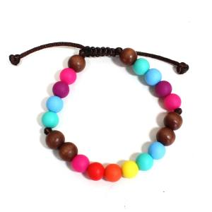 Elements RAINBOW Dark wood BRACELET 1 - Elements Rainbow Silicone dark wood teething baby proof bracelet