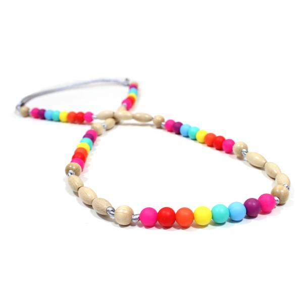 Elements RAINBOW Light wood 3 - Elements Rainbow Silicone light wood teething nursing necklace
