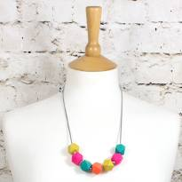 GEO beads Summer bright 1 - Summer bright GEO BEADS silicone teething necklace
