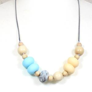 Gilly Pastels Blue teething necklace 2 - Gilly silicone teething necklace Baby Blue pastel