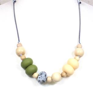 Gilly Pastels Olive teething necklace 2 - Gilly silicone teething necklace Olive green pastel
