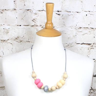 Gilly Pastels Pink teething necklace 1 - Gilly silicone teething necklace Pale Pink pastel