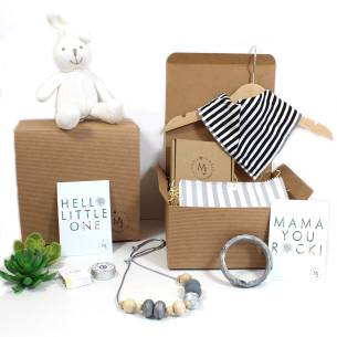 Bunny Monochrome Mum and Baby hamper - Mum and baby gift hamper set for baby girl or boy monochrome bunny