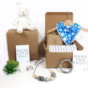 white bunny blue stars mum and baby hamper - Mum and baby blue stars gift hamper set for baby boy knitted bunny