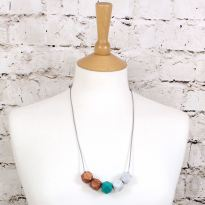 GEO SS 2018 PALM LEAF GREEN 1 - NEO Geometric silicone teething fiddle necklace Green Rose Gold