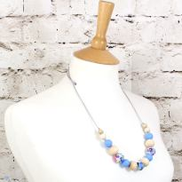 POLLY BLUE 2 TEETHING NECKLACE - POLLY Floral silicone teething necklace blue