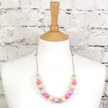 POLLY PINK 1 TEETHING NECKLACE - POLLY Floral silicone teething necklace pink