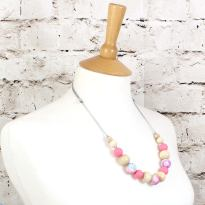 POLLY PINK 2 TEETHING NECKLACE - POLLY Floral silicone teething necklace pink