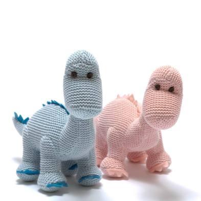 Sweet Baby Diplos - Organic cotton Baby blue diplodocus dinosaur knitted toy