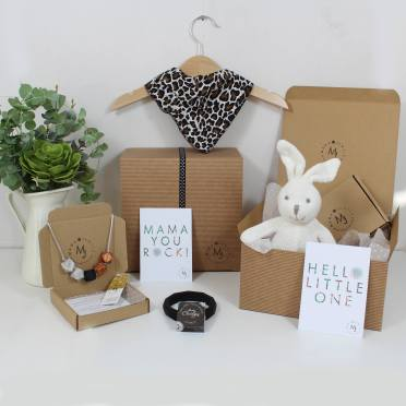JUNGLE HAMPER 2 WITH BUNNY - Funky leopard print Mama and baby gift hamper set for baby girl or boy