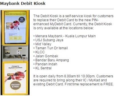 Tukar Kad Debit Maybank di Kiosk