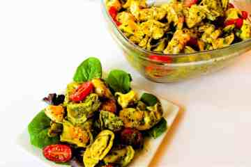Pesto Shrimp Tortellini Salad | mamaknowsnutrition.com