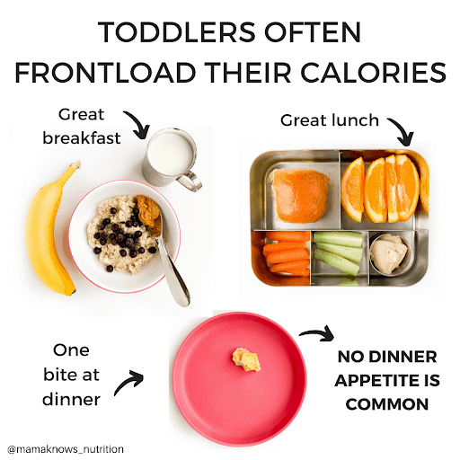 why toddlers front load calories