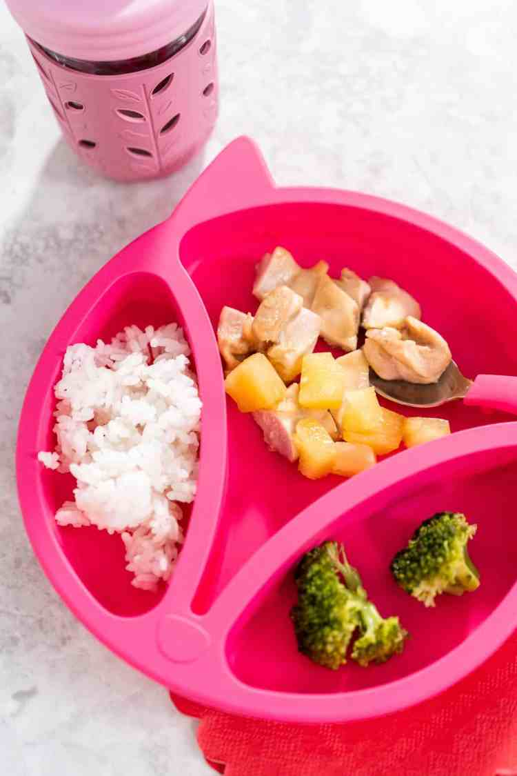 elk and friends pink plate and glass mason jar cup with kid friendly chicken recipe with pineapple and rice and broccoli