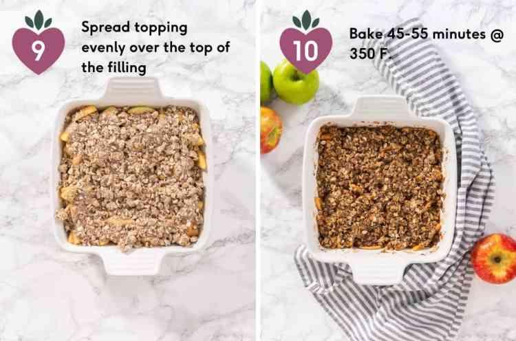 Steps 9-10 how to make apple crisp