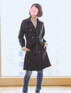 レインコート ママ人気 トレンチ ブラック 袖ストライプ