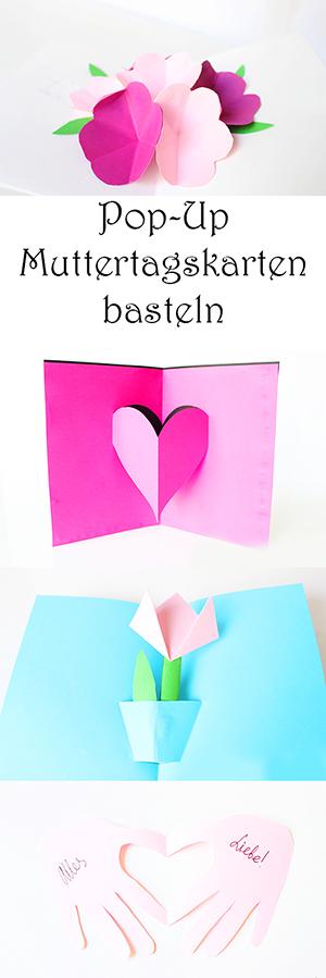 Pop-Up Muttertagskarten basteln - Geschenkidee zum Muttertag - mit Kindern basteln aus Papier