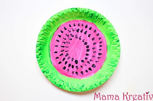 wassermelone aus pappteller basteln