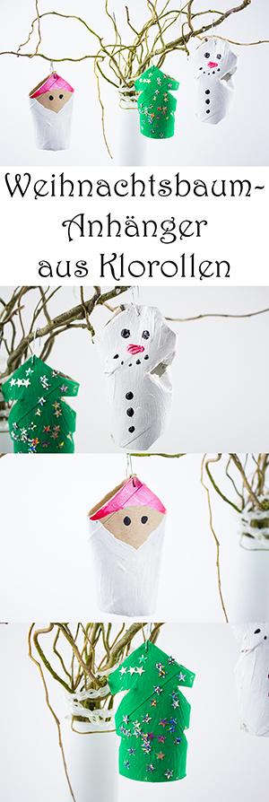 DIY Weihnachtbaumschmuck basteln - Weihnachtsbaumanhänger aus Klorollen selber machen
